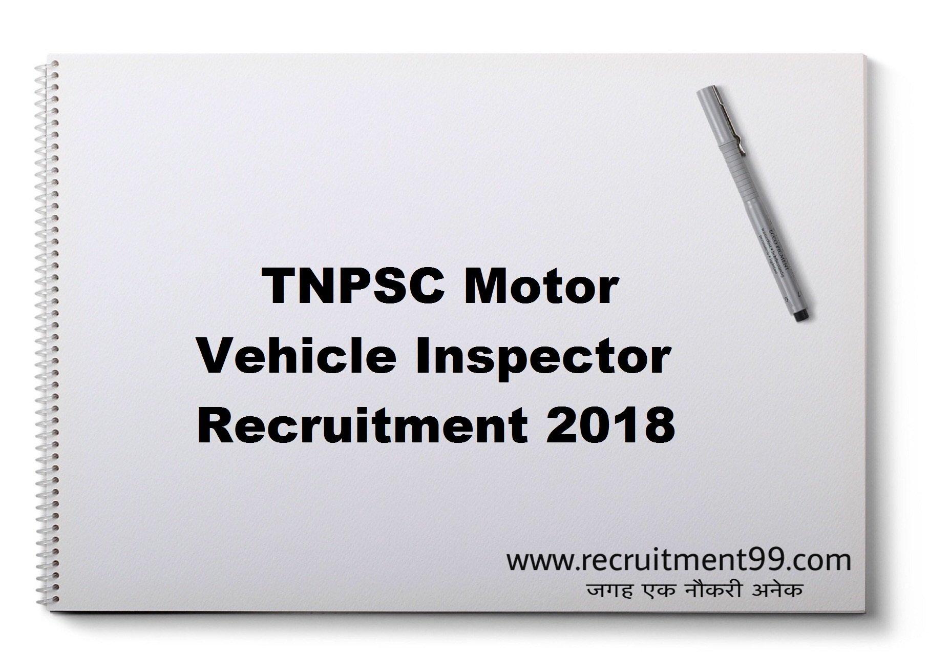 TNPSC Motor Vehicle Inspector Recruitment Hall Ticket Result 2018