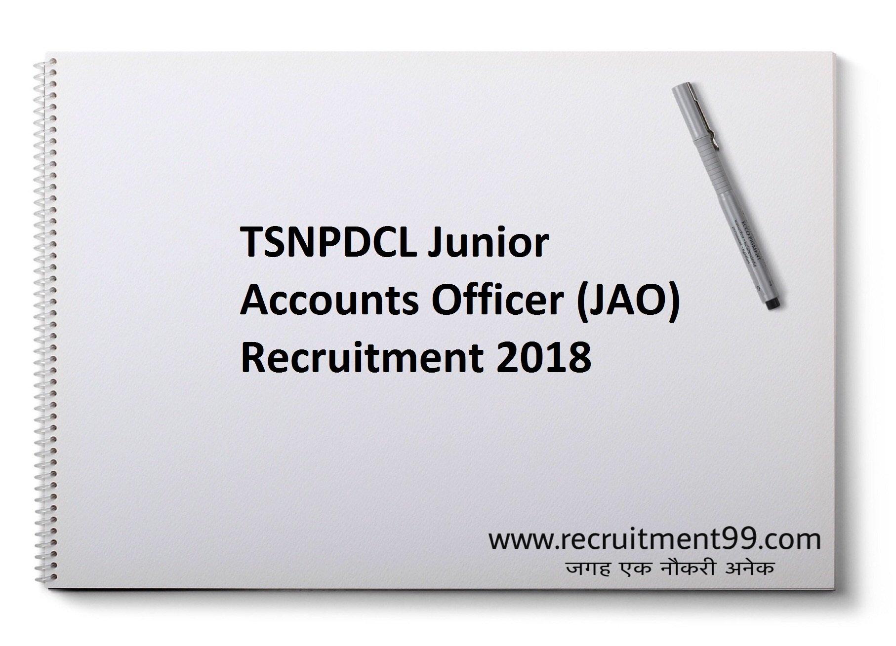 TSNPDCL Junior Accounts Officer JAO Recruitment Admit Card Result 2018