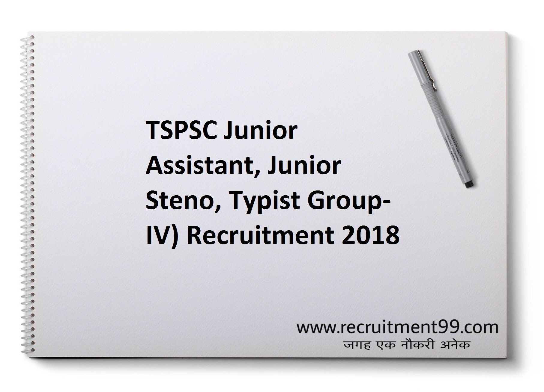 TSPSC Junior Assistant Junior Steno Typist Group-IV) Recruitment Hall ticket Result 2018