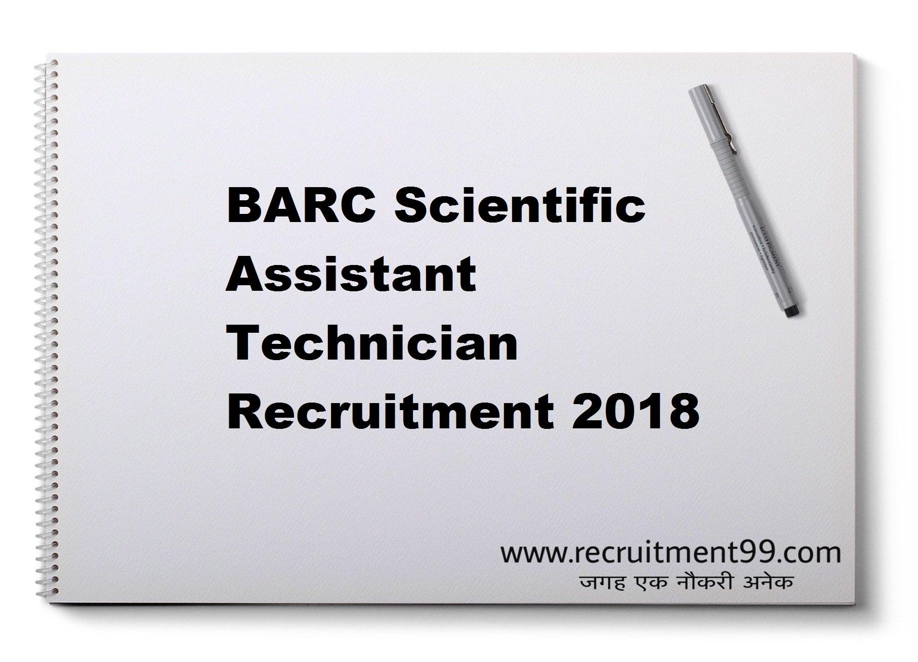 BARC Scientific Assistant Technician Recruitment Admit Card Result 2018