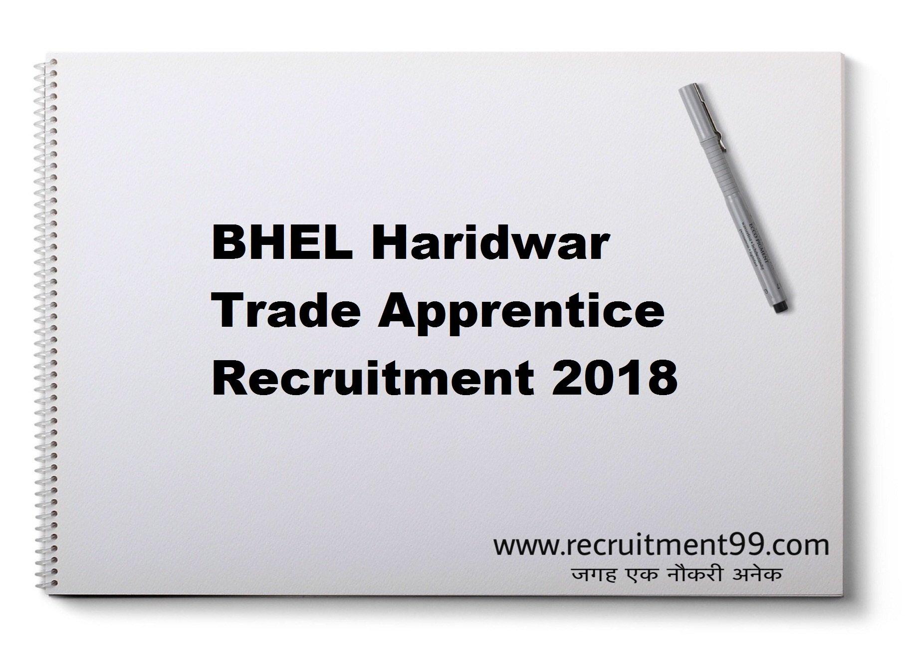 BHEL Haridwar Trade Apprentice Recruitment Hall Ticket Result 2018