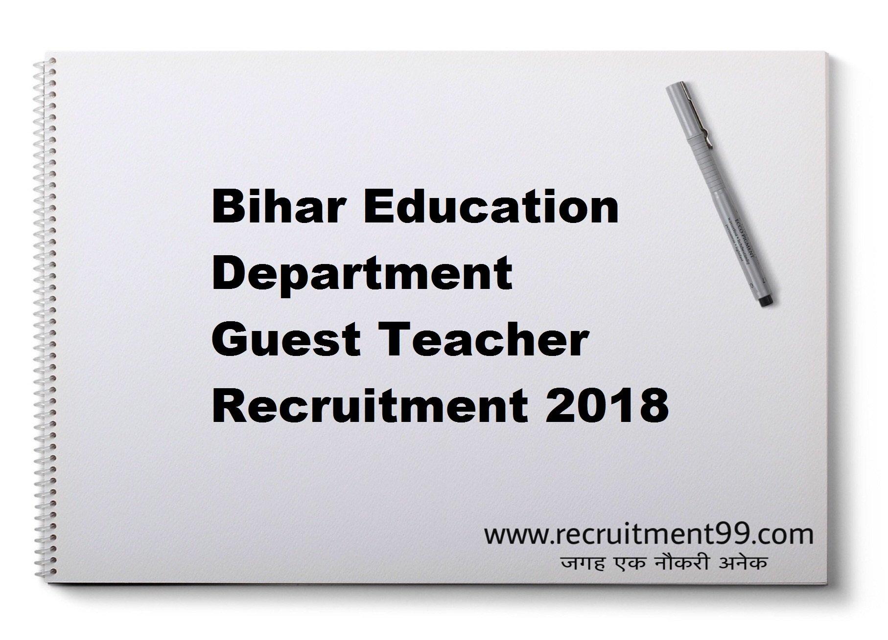 Bihar Education Department Guest Teacher Recruitment Admit Card Result 2018