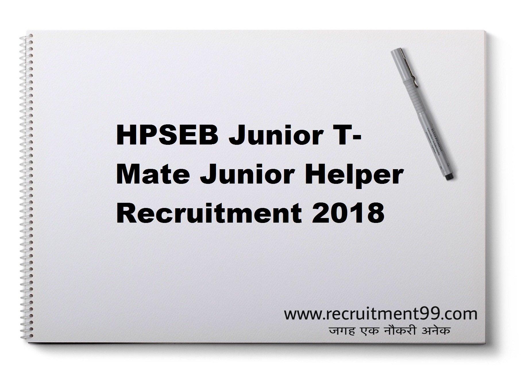 HPSEB Junior T- Mate Junior Helper Recruitment Admit Card Result 2018