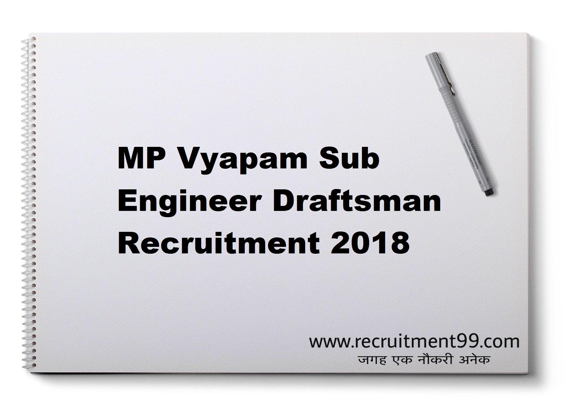 MP Vyapam Sub Engineer Draftsman Recruitment Admit Card Result 2018
