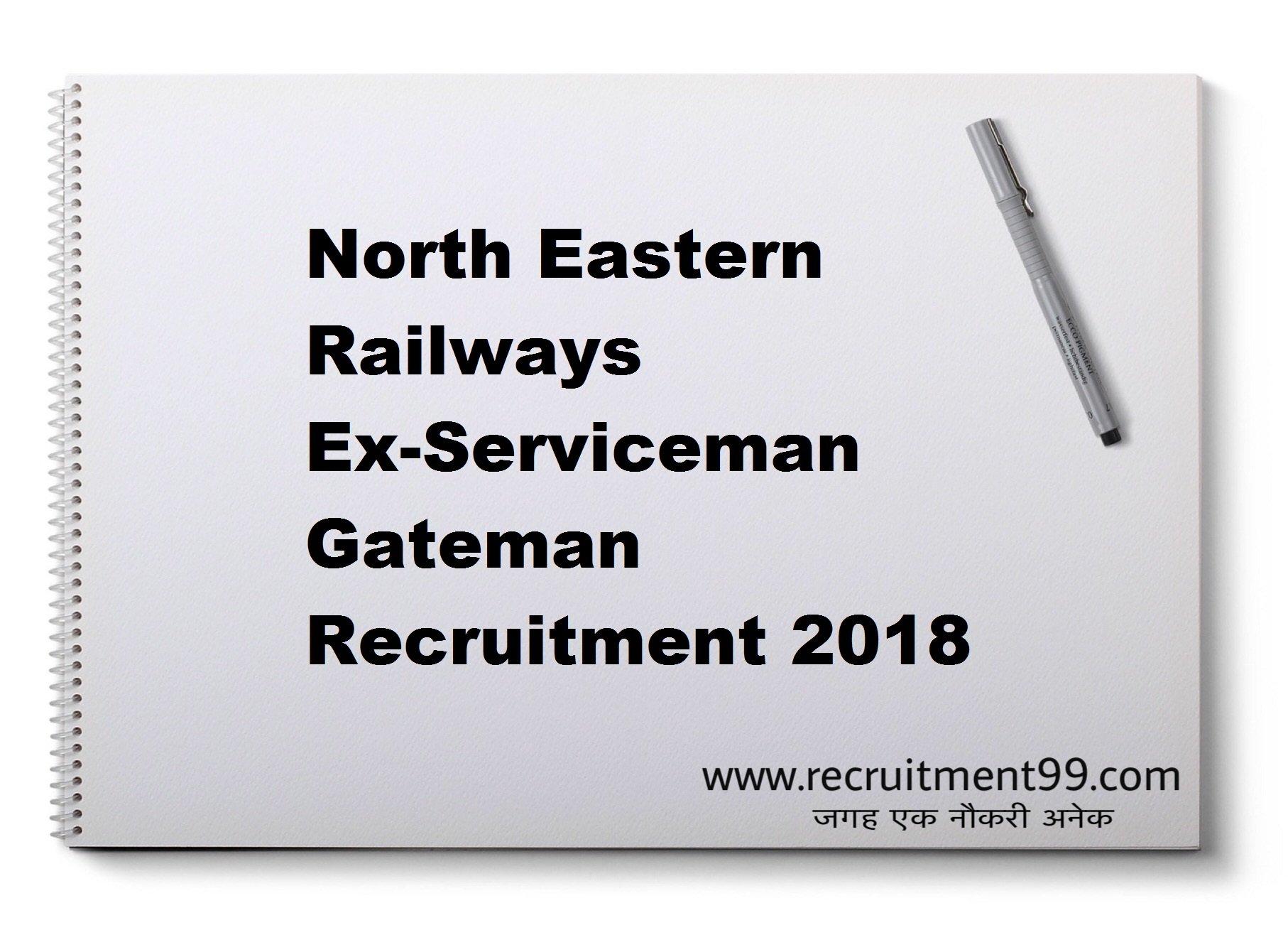 North Eastern Railways Ex-Serviceman Gateman Recruitment Admit Card Result 2018