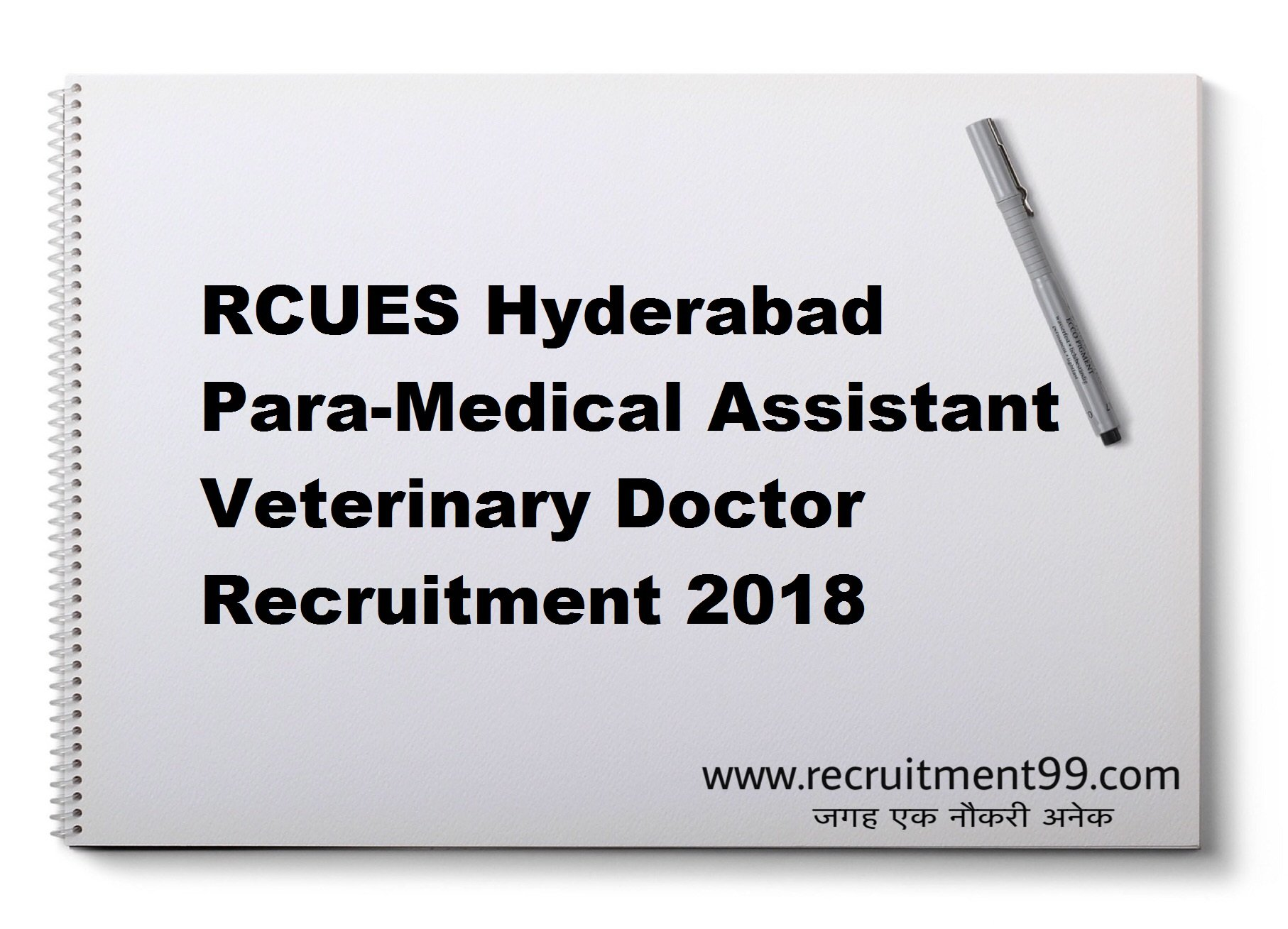 RCUES Hyderabad Para-Medical Assistant Veterinary Doctor Recruitment Hall Ticket Result 2018