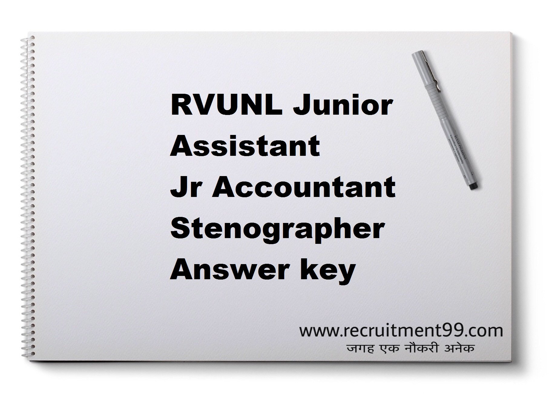 RVUNL Junior Assistant Jr Accountant Stenographer Answer key  2018