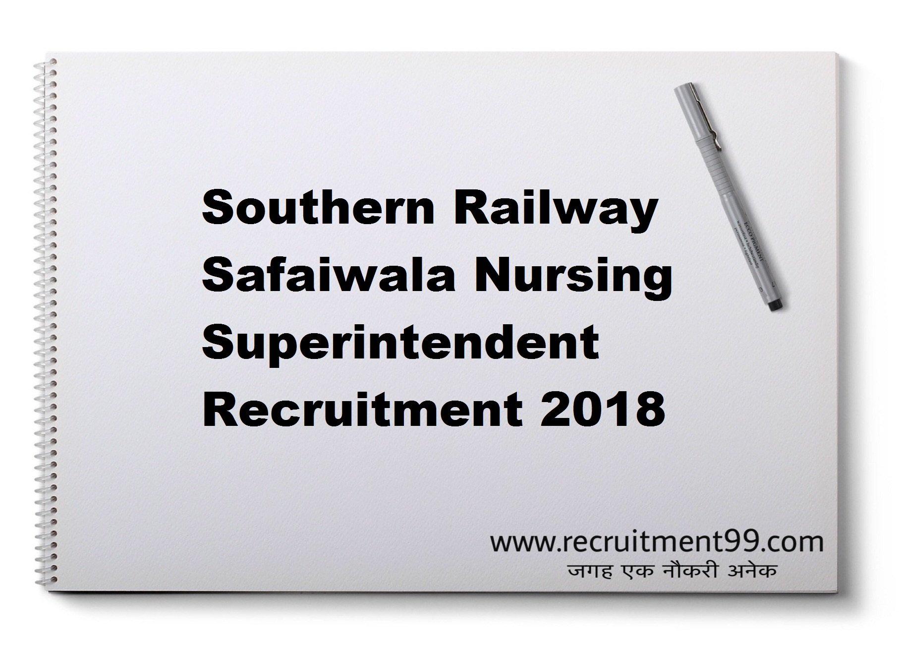 Southern Railway Safaiwala Nursing Superintendent Recruitment Admit Card Result 2018