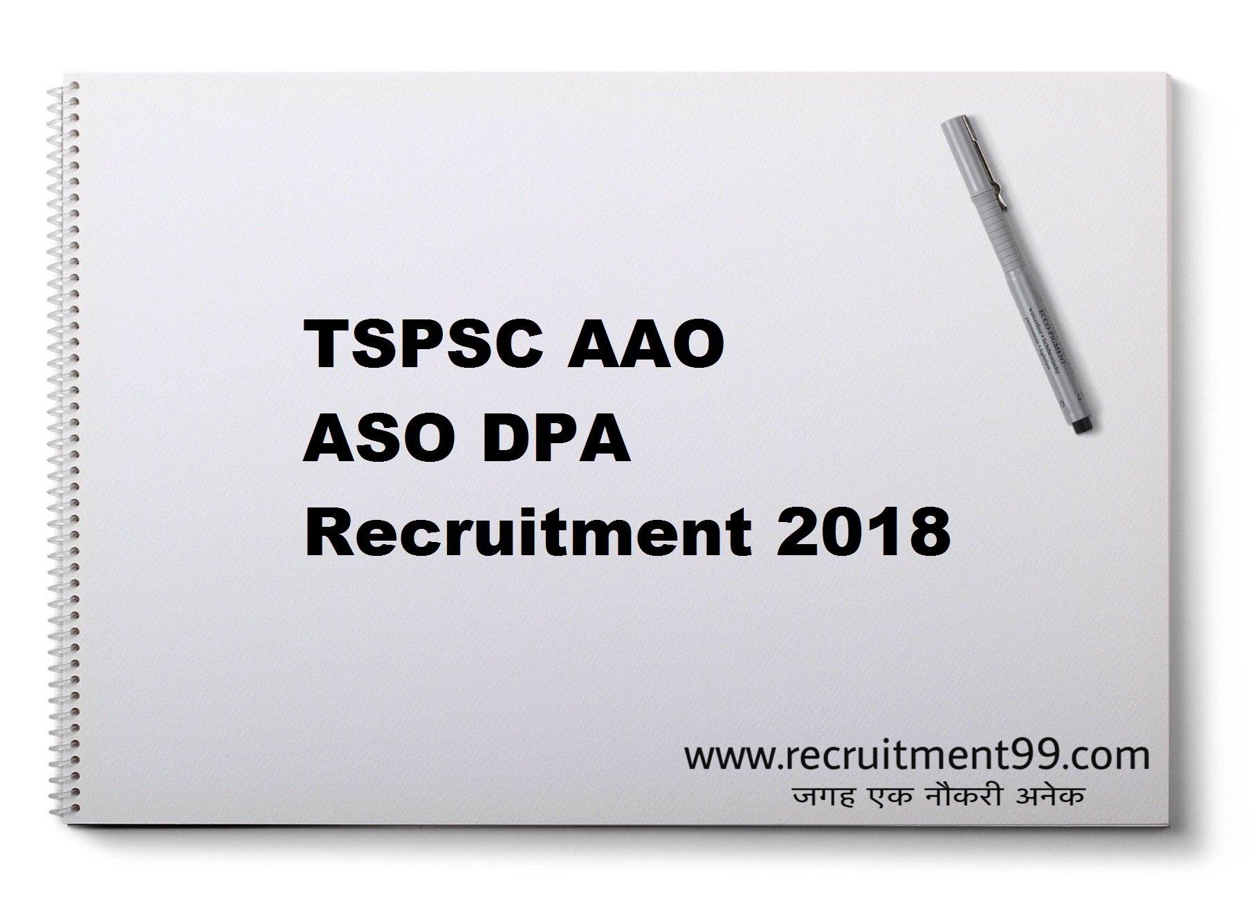 TSPSC AAO ASO DPA Recruitment Hall Ticket Result 2018