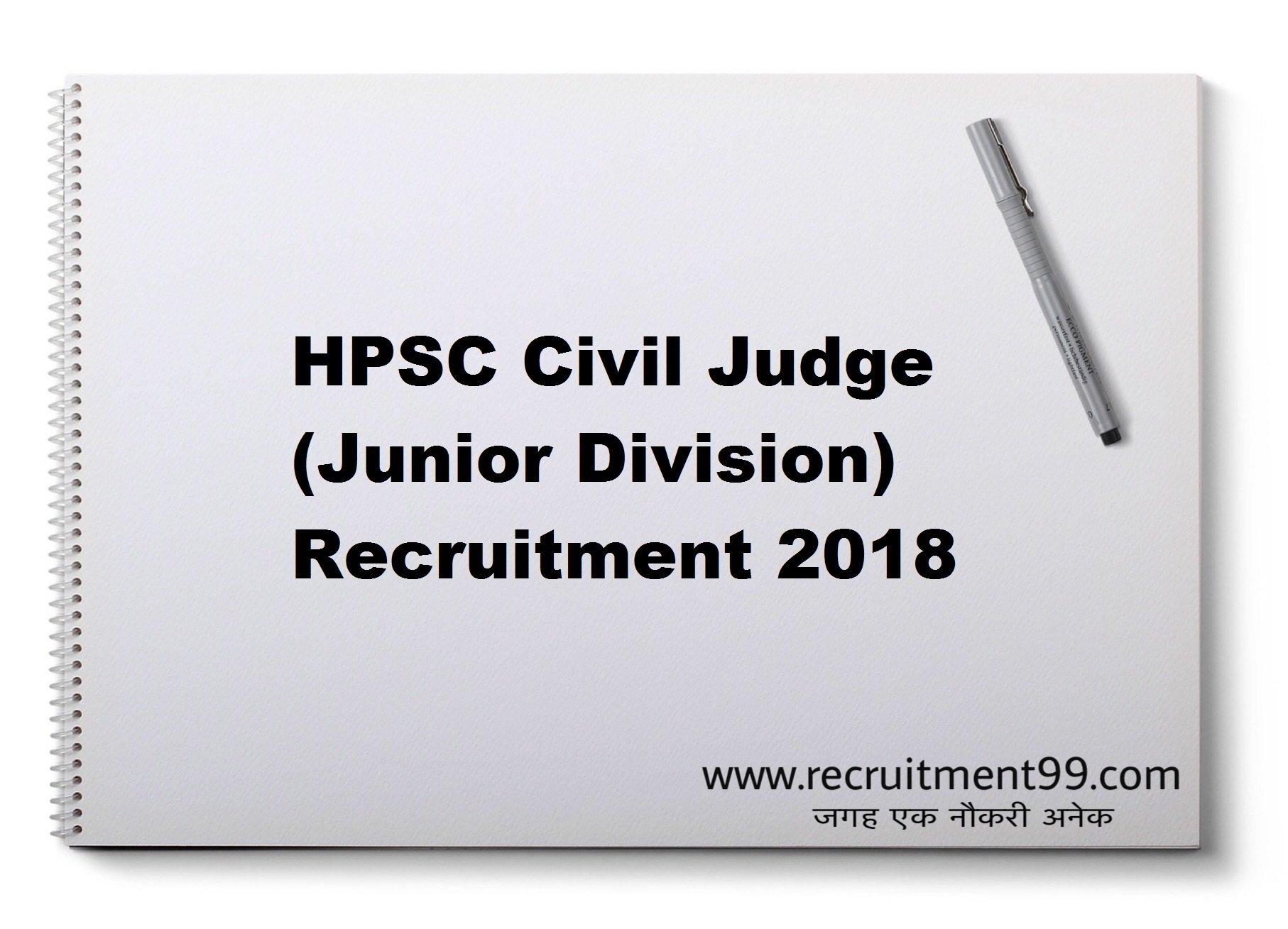 HPSC Civil Judge (Junior Division) Recruitment Admit Card Result 2018