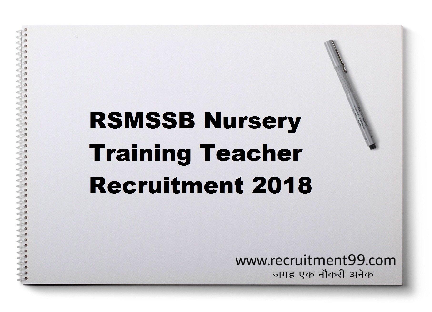 RSMSSB NTT Teacher Recruitment Admit Card Result 2018