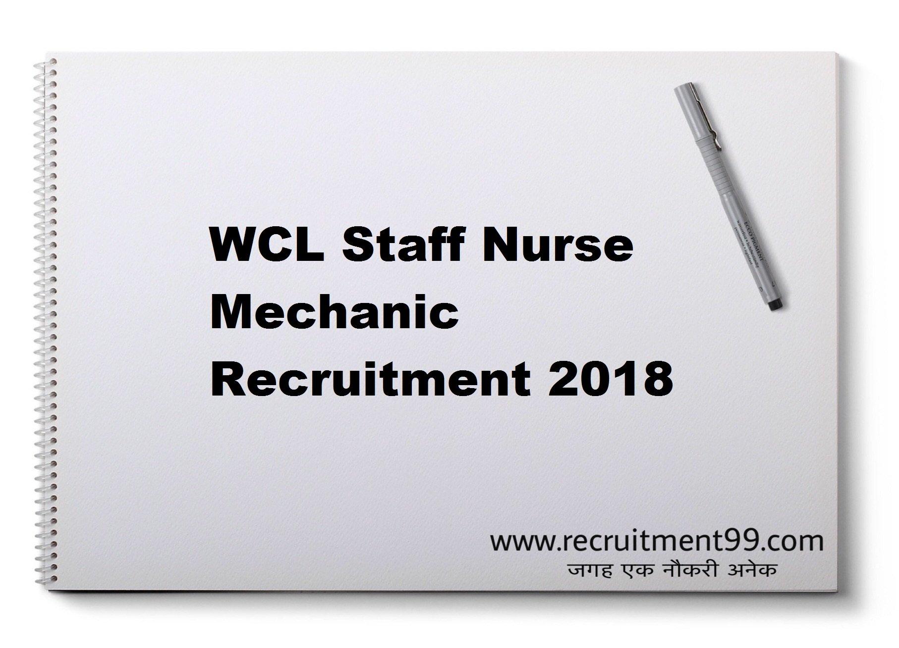 WCL Staff Nurse Mechanic Recruitment Admit Card Result 2018