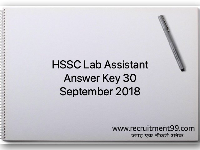 HSSC Lab Assistant Answer Key 30 September 2018