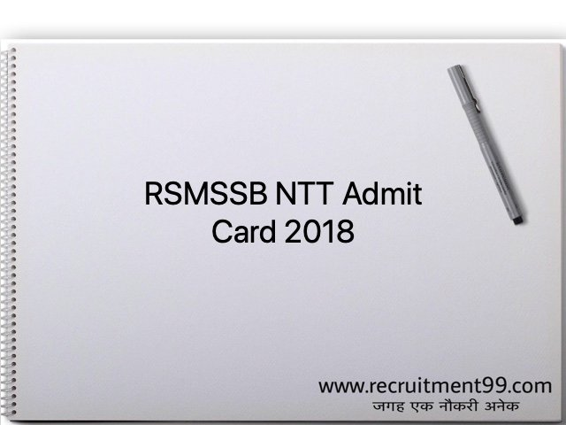 RSMSSB NTT Admit Card 2018