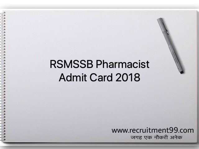 RSMSSB Pharmacist Admit Card 2018