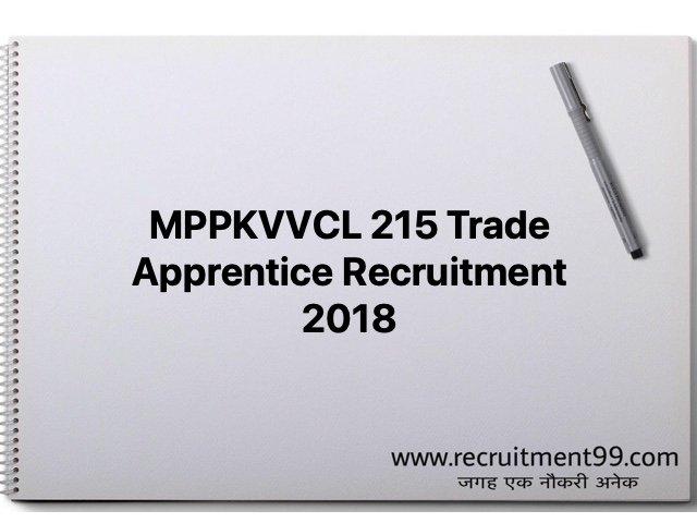 MPPKVVCL 215 Trade Apprentice Recruitment 2018